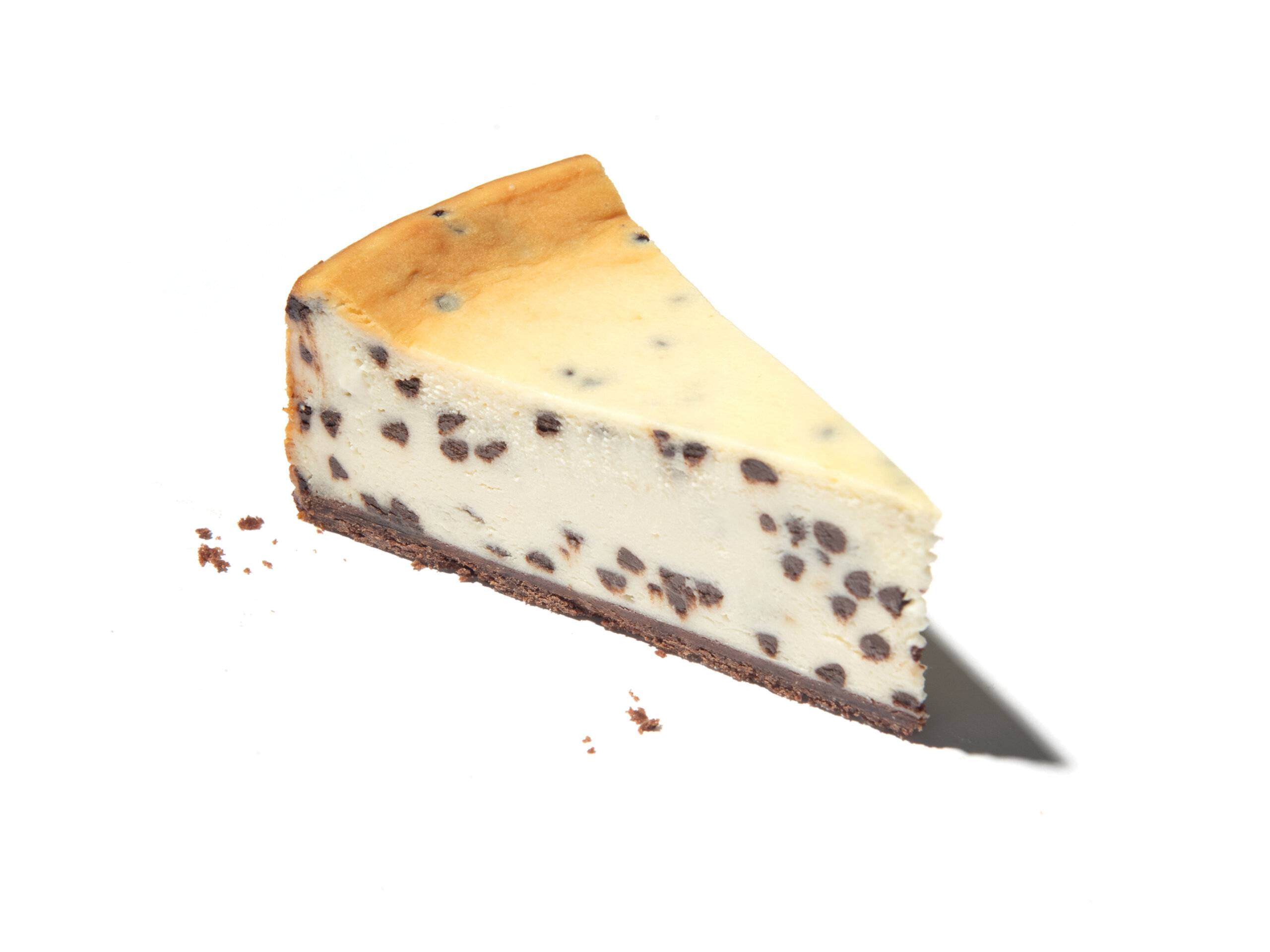 A slice of Eli's Chocolate Chip Cheesecake