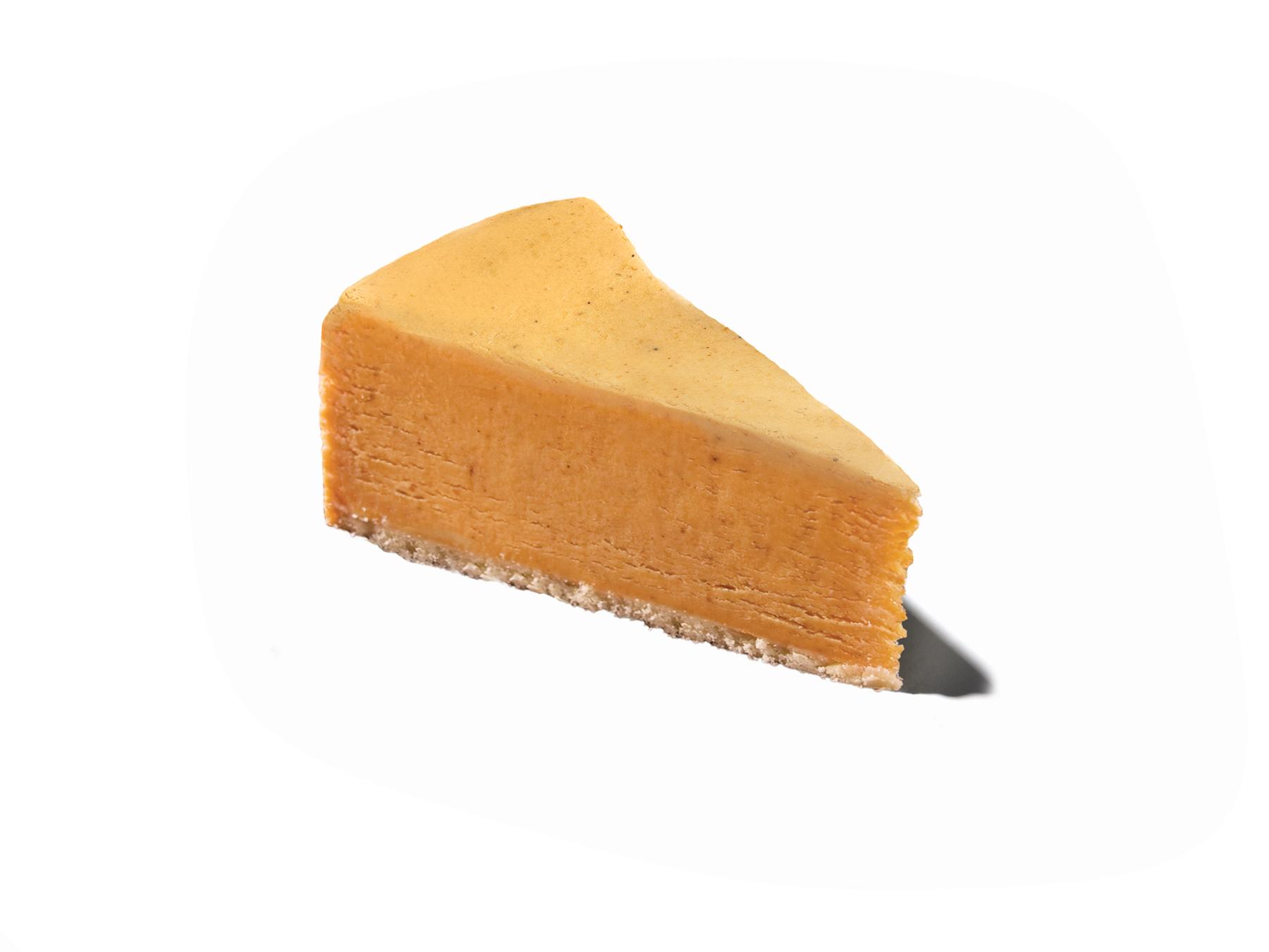 A slice of Eli's Pumpkin Cheesecake